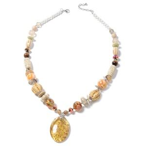 Yellow Murano Millefiori Glass Tigers Eye,necklace